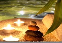 Spa night concept with stones and water